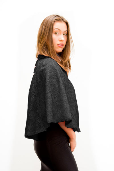 Black Lace Pearl Cape