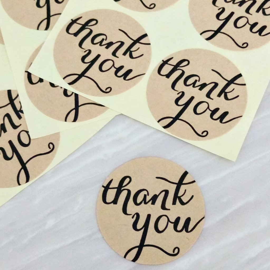 108pcs Kraft Circle Thank You Stickers (3.8cm)