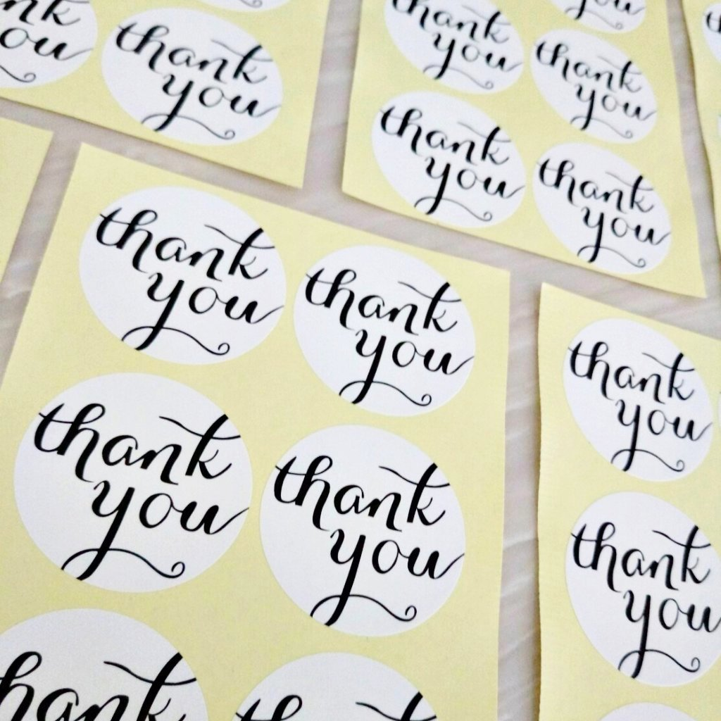 108pcs White Thank You Stickers (3.8cm)
