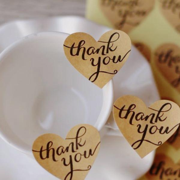 108pcs Kraft Heart Thank You Stickers (3.3cmx2.9cm)