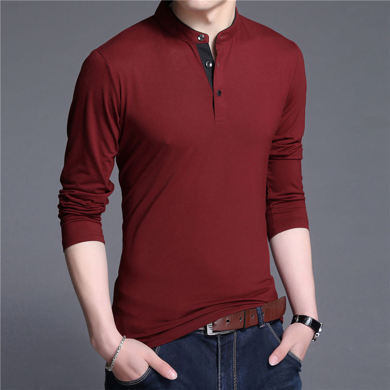Wine Red Collar T-Shirt