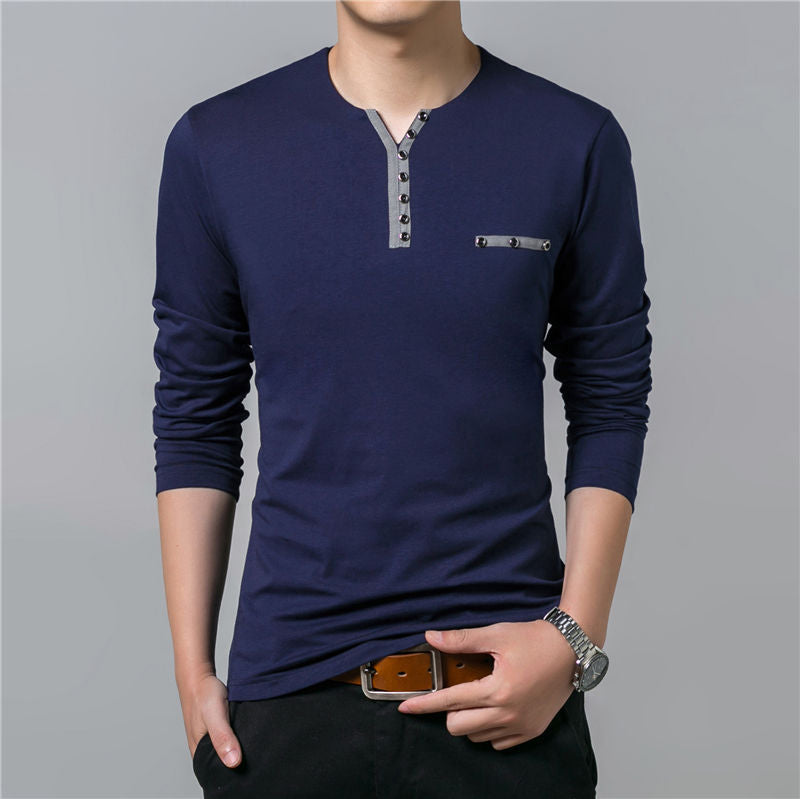 Navy/Wine Red Henry Collar T-Shirt