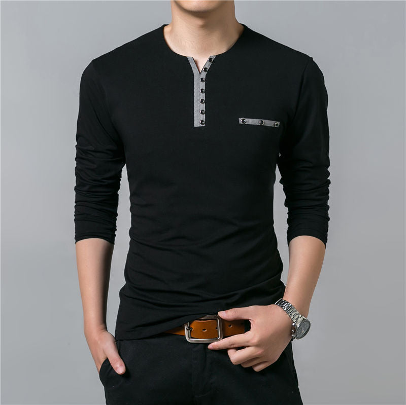 Black/White/Gray Henry Collar T-Shirt