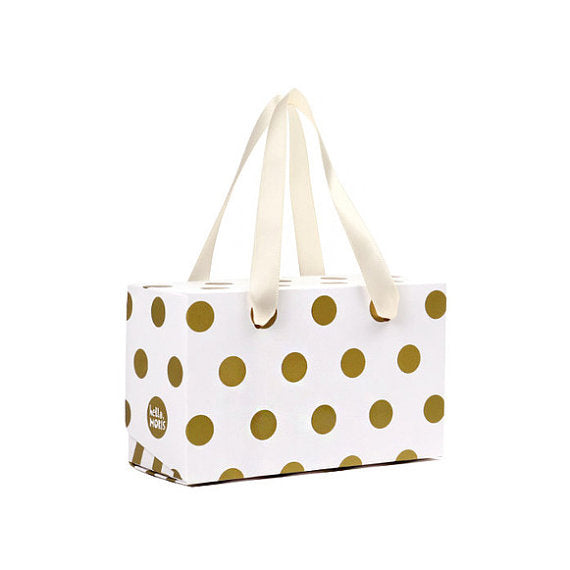 (L) Gold Polka Dots Boxes with Handle