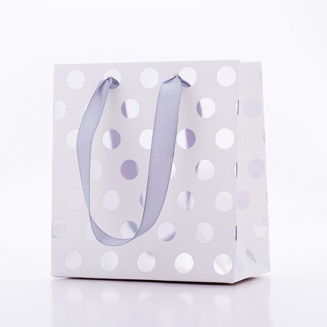 (S) Silver Polka Dots Paper Bags