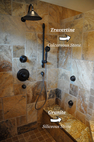 Cleaning travertine and other natural stones in the shower
