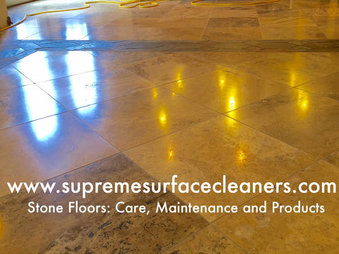 Travertine floor after using Supreme Surface® stone floor treatment with ioSeal.