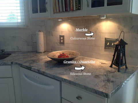 Cleaning marble or calcareous natural stones