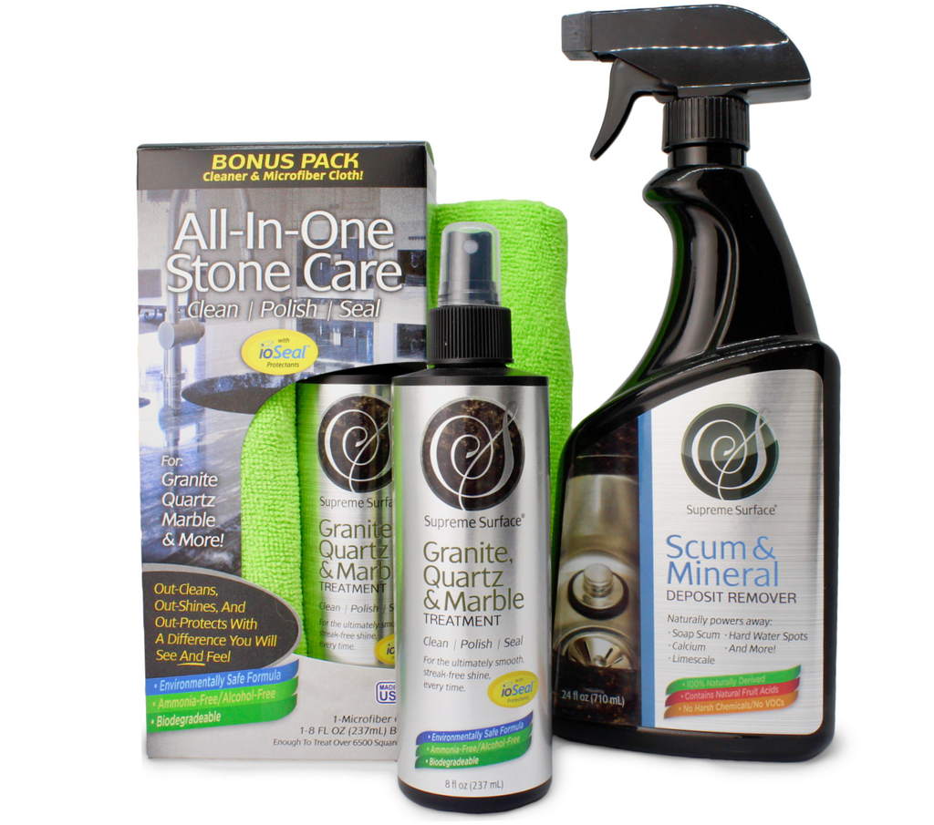 supreme surface composite granite sink kit - cleaner sealer polish treatment and scum mineral deposit hard water stain and spot remover