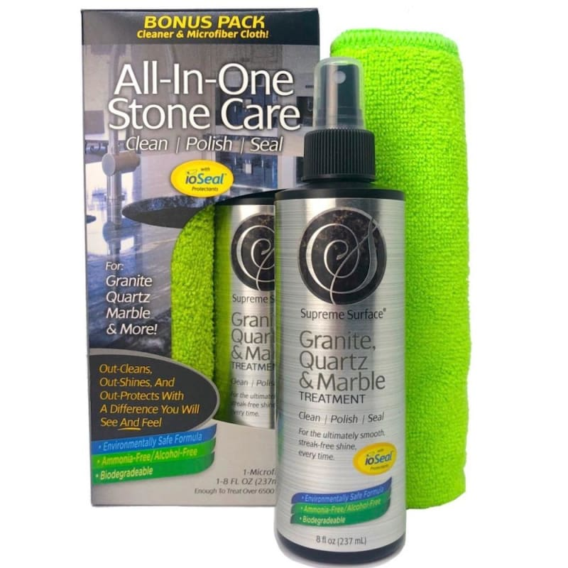All-In-One Stone Care: (Cleaner Polish Sealer) Granite Quartz & Marble Treatment. This item was formally known as Supreme Surface Granite Cleaner and Conditioner.