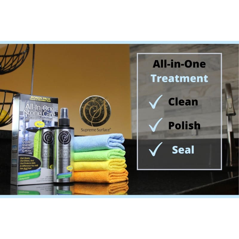 All-In-One Stone Care: (Cleaner Polish Sealer) Granite Quartz & Marble Treatment