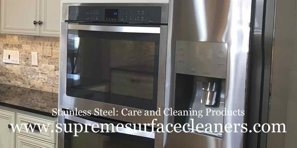 Featuring specialty cleaners specifically for stainless steel. The image was produced to show the consumer the importance of selecting cleaning products that are made for stainless steel and also the electronic screens that are integrated into the face of the appliance.