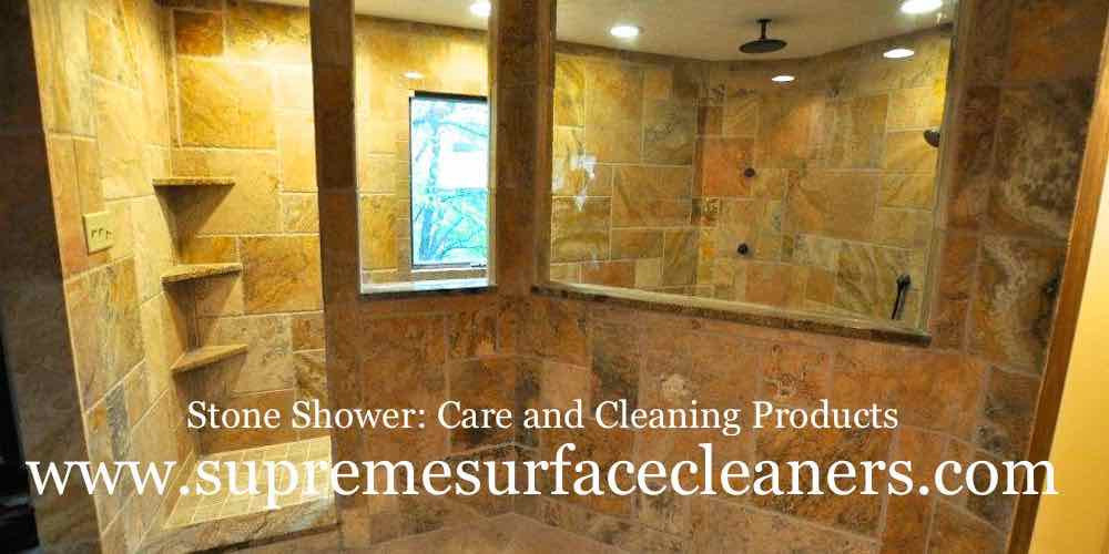 "A beautiful ""spa-like"" natural stone shower designed with Scabs travertine in a multi-size pattern and granite curb, shampoo shelves and sill pieces. To prep stone for the photo, we used Supreme Surface® Stone Shower Treatment with ioSeal"". When the travertine was cleaned the colors became vibrant and the surface became protected against soap scum and mineral deposits."