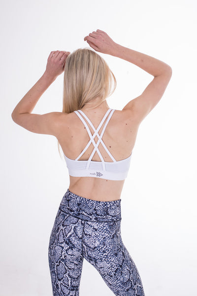 White Free My Heart Sports Bra