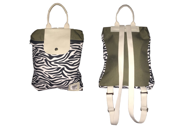 Zebra with Khaki Backpack