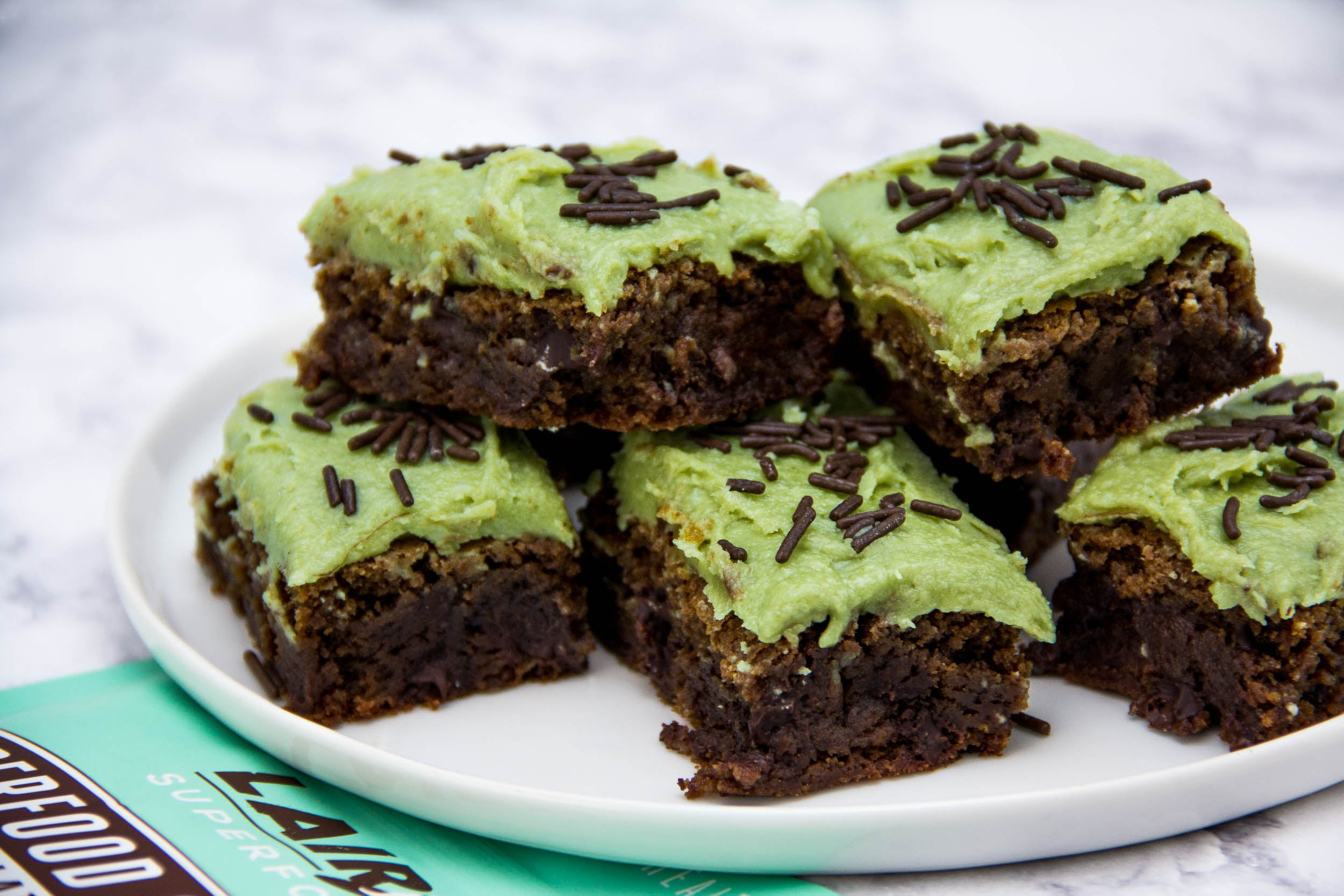 Chocolate Mint Brownies with Matcha Frosting