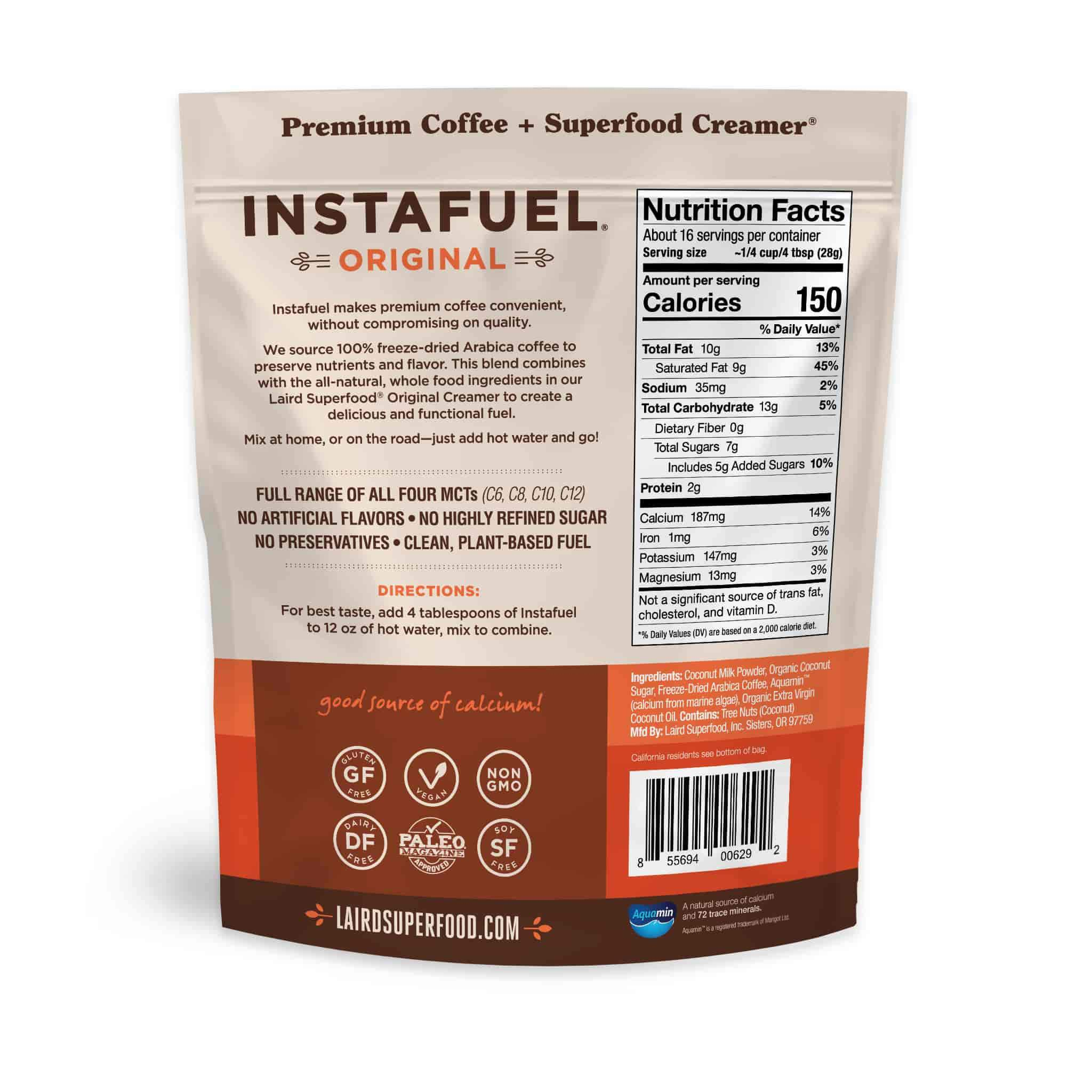 Instafuel, instant coffee and vegan creamer