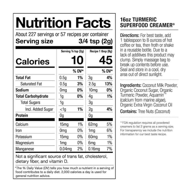 Nutrition Facts - 16oz Turmeric Creamer