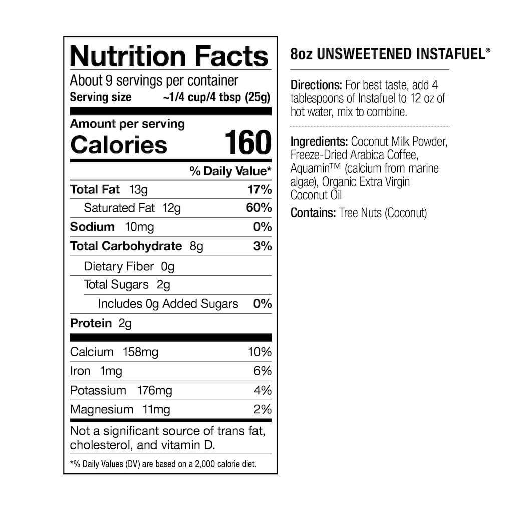 nutrition facts, unsweetened instant coffee latte