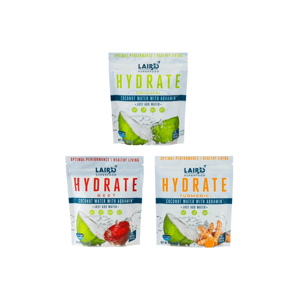 3 pack of HYDRATE coconut waters