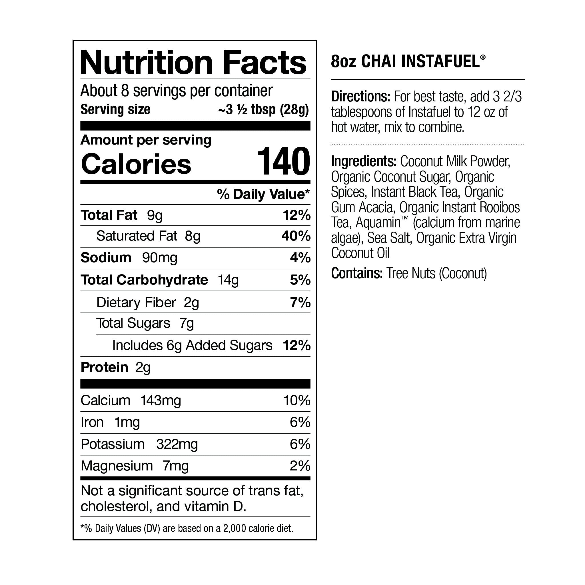 Nutrition facts for Chai Instafuel