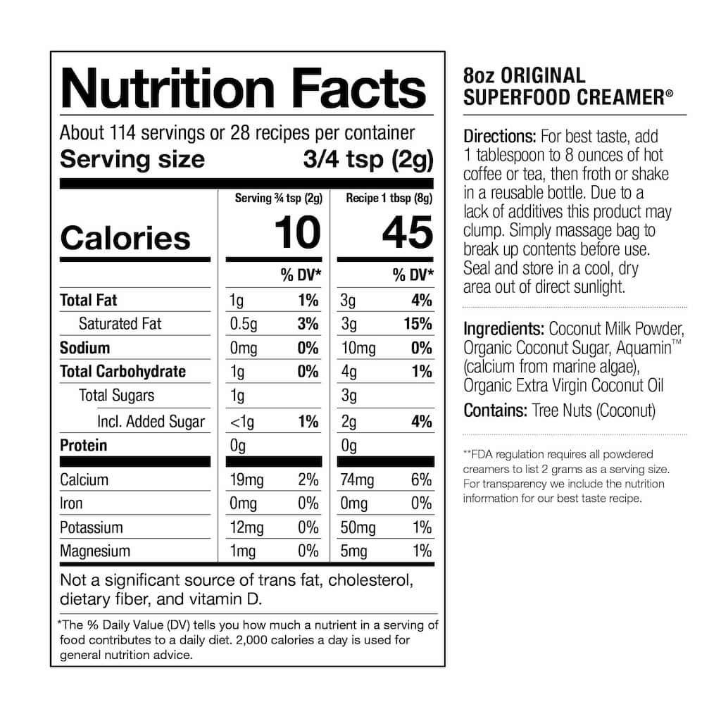 Original Superfood Creamer Nutrition Facts