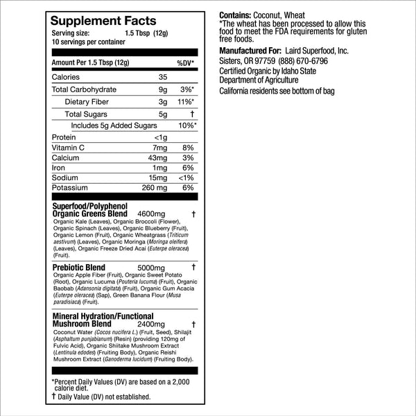 Activate Greens Nutrition Facts