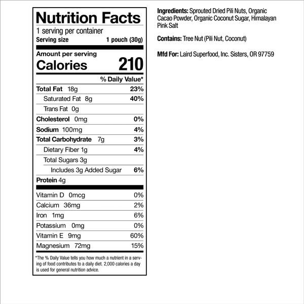 Cacao Pili Nuts Nutrition Facts