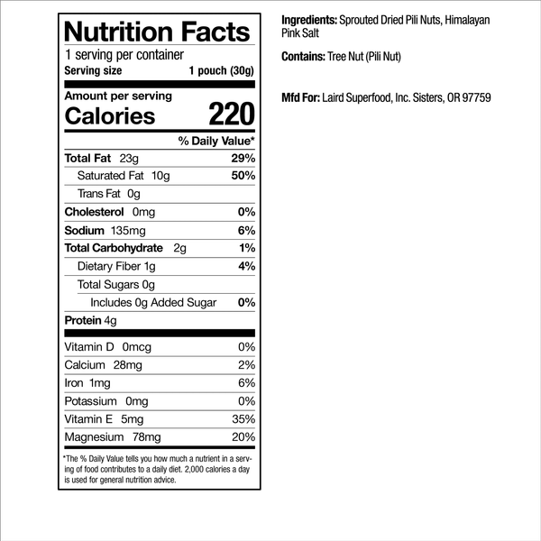 Salt Pili Nuts Nutrition Facts
