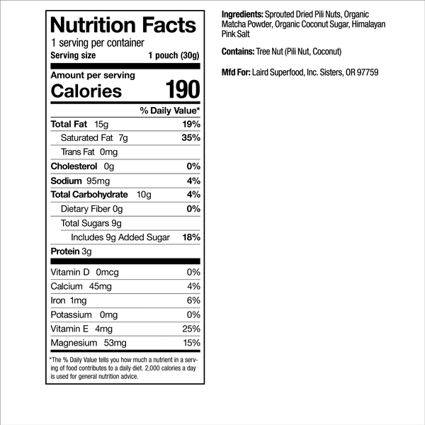 Matcha Pili Nuts Nutrition Facts
