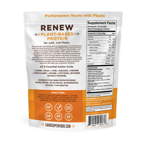 Renew Plant-Based Protein Back of Bag