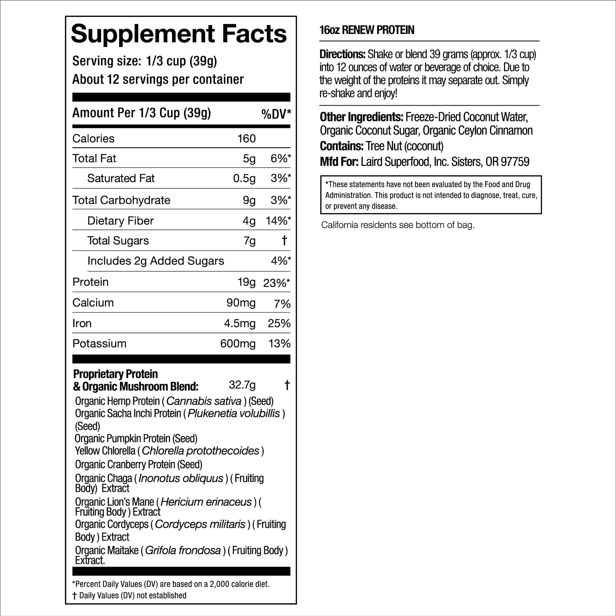 Renew Protein Supplement Facts
