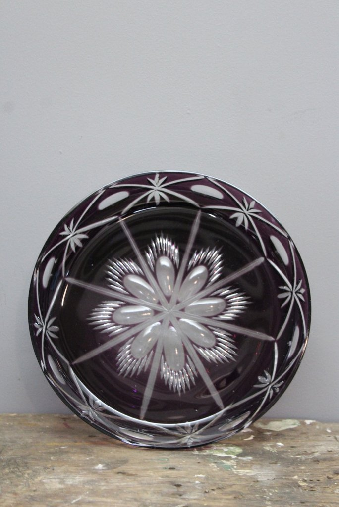 Amethyst Cut Glass Bowl.