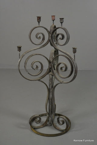 Scrolled Wrought Iron Large Candelabra - Kernow Furniture 100s vintage, retro & antique items in stock