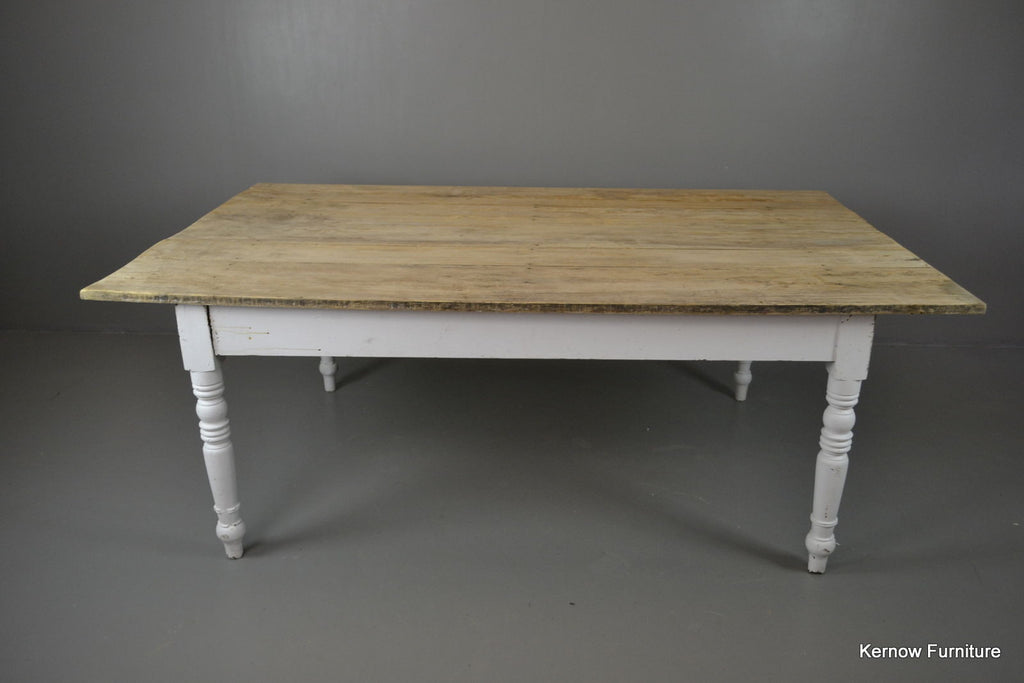 Large Rustic Farmhouse Plank Top Kitchen Dining Table - Kernow Furniture 100s vintage, retro & antique items in stock