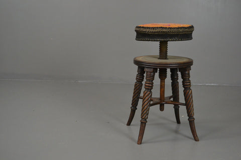 19th Century Mahogany Adjustable Music Piano Stool - vintage retro and antique furniture