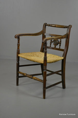 19th Century Elm & Rush Carver Chair - Kernow Furniture 100s vintage, retro & antique items in stock