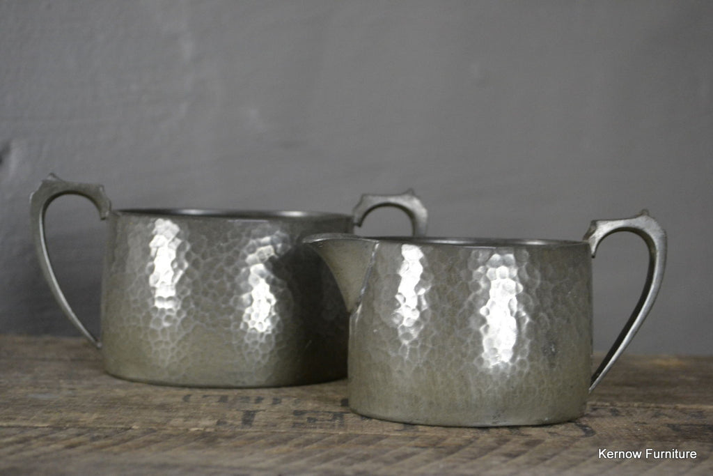 Hammered Pewter Small Jug & Sugr Bowl - Kernow Furniture 100s vintage, retro & antique items in stock