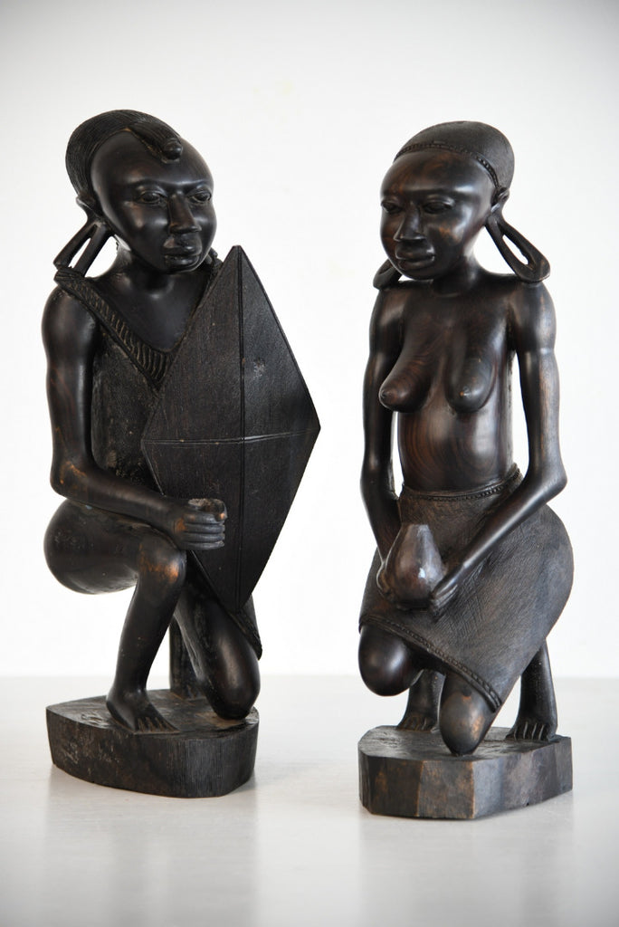 Pair Large Carved Tribal Figures