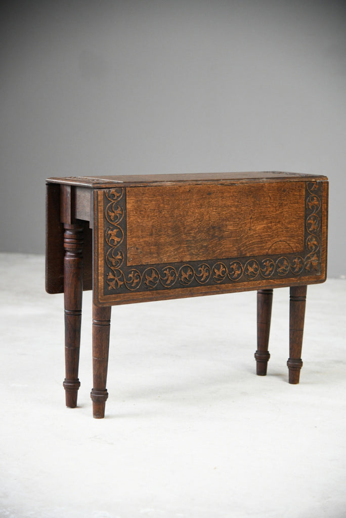 Arts & Crafts Carved Oak Drop Leaf Table