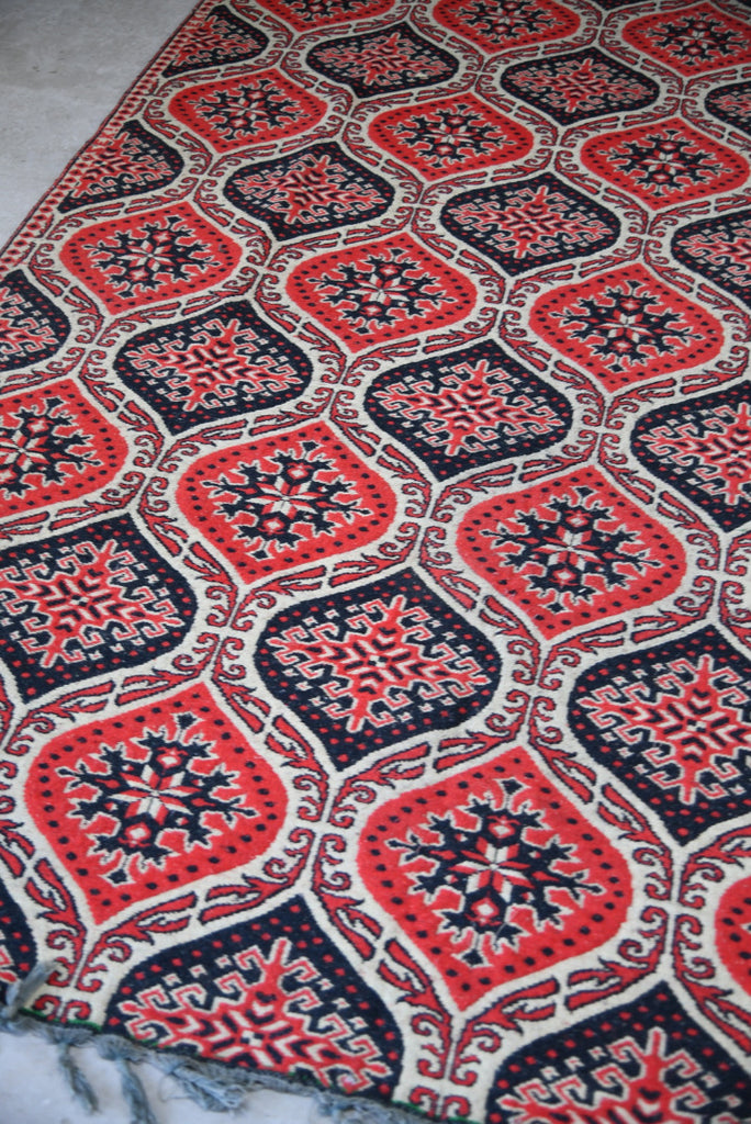 Red Eastern Wool Turkish Flatweave Rug