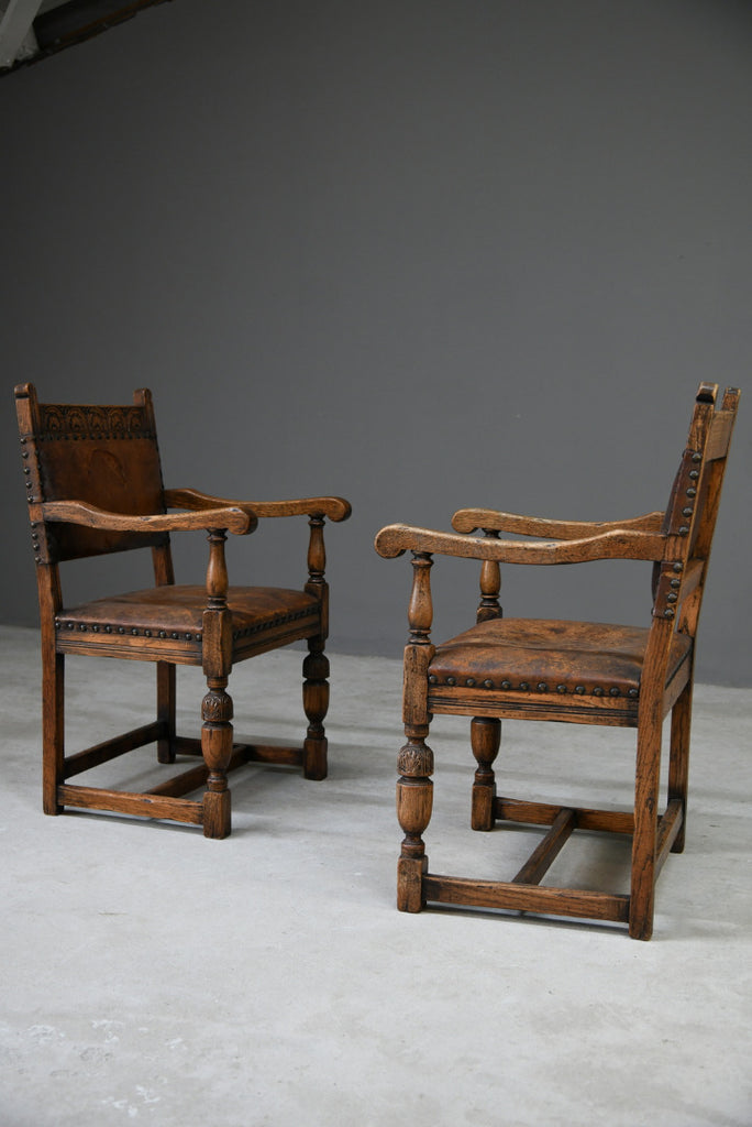 Pair 17th Century Style Oak Carver Chairs