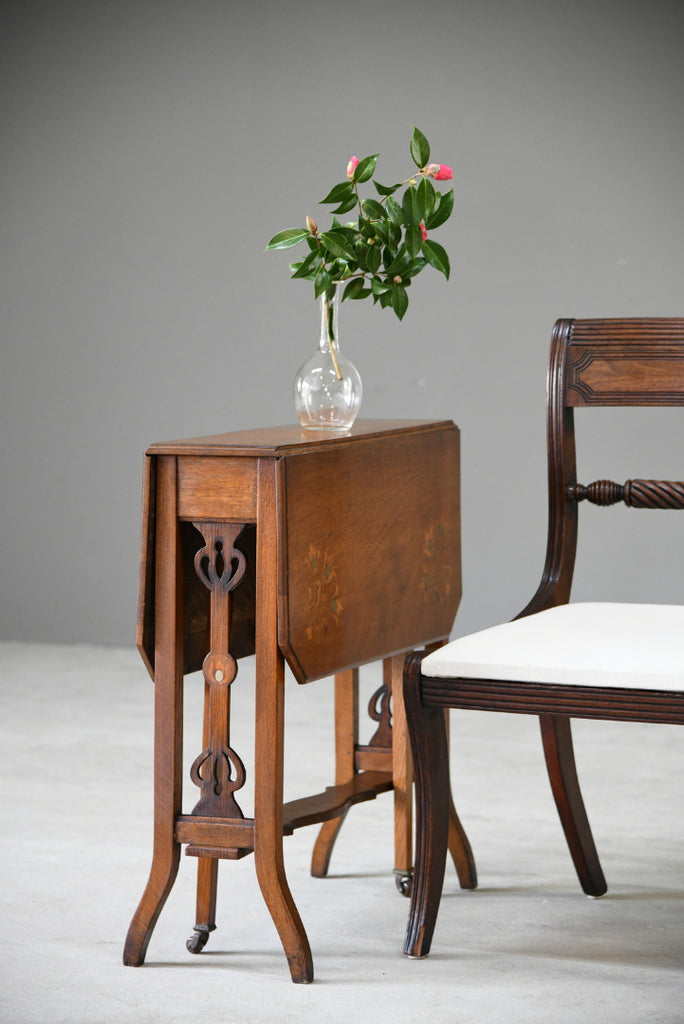Art Nouveau Oak Drop Leaf Table
