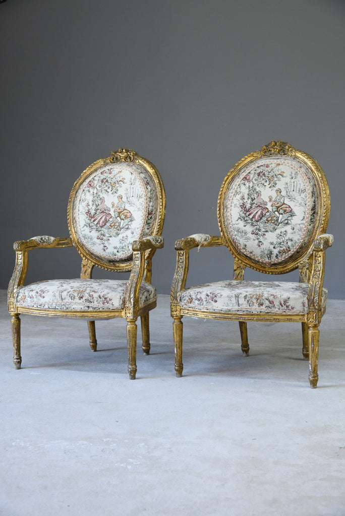 Pair French Gilt Gesso Armchairs