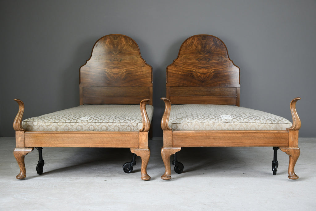 Pair Antique 1930s Heals Walnut 3ft Single Beds