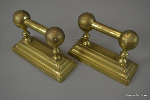 Pair Brass Poker Rests - Kernow Furniture 100s vintage, retro & antique items in stock