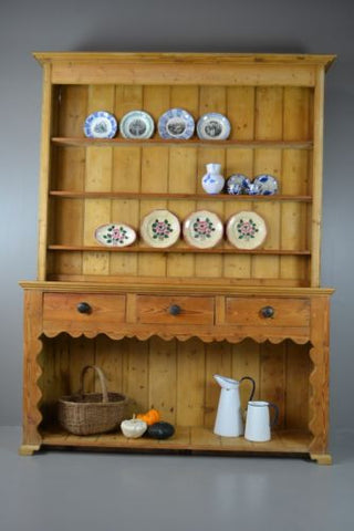 Large Antique Stripped Pine Kitchen Dresser - Kernow Furniture 100s vintage, retro & antique items in stock