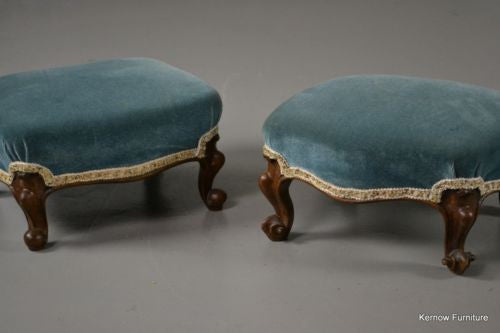 Pair Antique Victorian Carved Walnut Footstools - Kernow Furniture 100s vintage, retro & antique items in stock