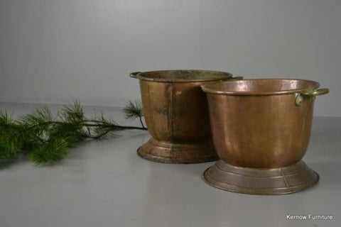 Pair Antique Copper Coal & Log Bins - Kernow Furniture 100s vintage, retro & antique items in stock