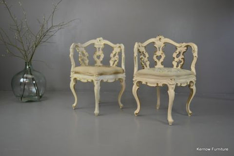 Pair Ornate White & Gold Rococo Style Corner Chairs - Kernow Furniture 100s vintage, retro & antique items in stock